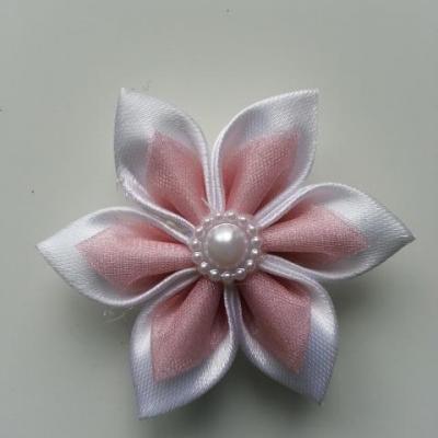 Fleur satin blanche et organza vieux  rose  5cm