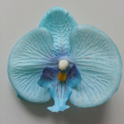 orchidée  en tissu bleu  80mm