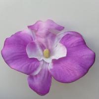 orchidée artificielle en tissu mauve et blanc   65mm
