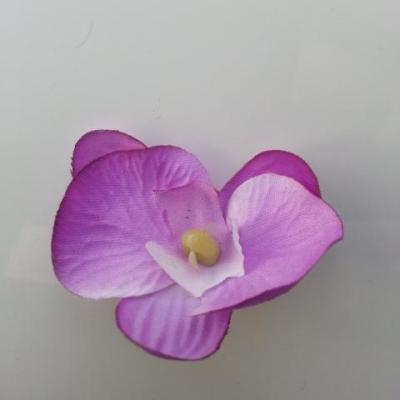 orchidée artificielle en tissu mauve et blanc   45mm