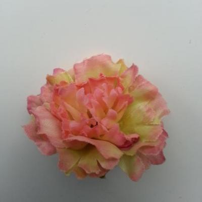 fleur artificielle en tissu de 45mm vert et peche