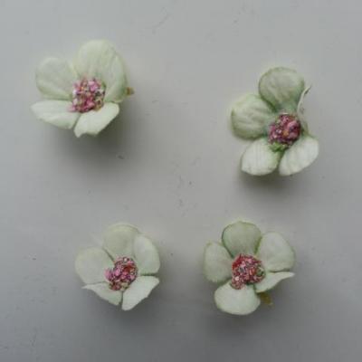 lot de 4 fleurs artificielles en tissu 20mm vert