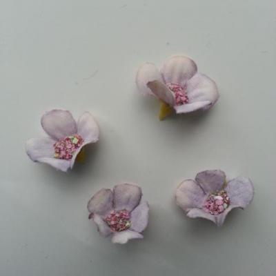 lot de 4 fleurs artificielles en tissu 20mm mauve