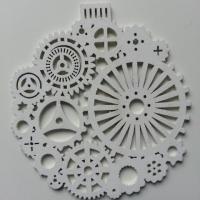 décoration de noel boule  en bois blanc 95mm