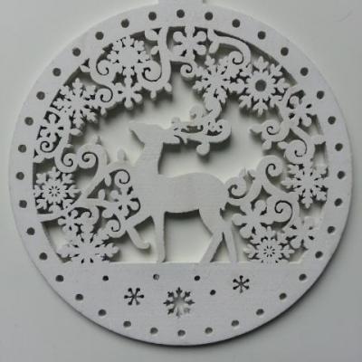 décoration de noel boule au renne en bois blanc 100mm