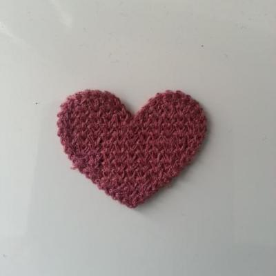 coeur en tricot vieux rose 28*35mm