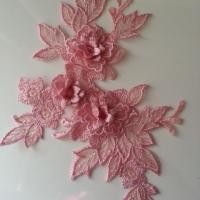 applique  en dentelle et fleur vieux rose  15*19cm