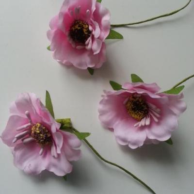 fleurs artificielles en tissu rose  sur tige lot de 3