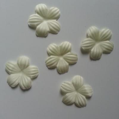 Lot de 5 fleurs en tissu  35mm ivoire