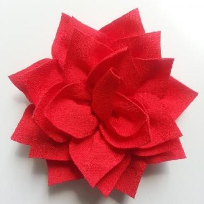 fleur en tissu rouge 70mm