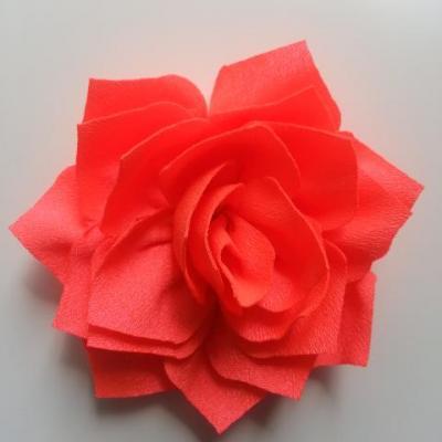 fleur en tissu orange fluo 70mm