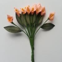 lot de 12 minis fleurs artificielles arum en mousse sur tige avec feuille peche