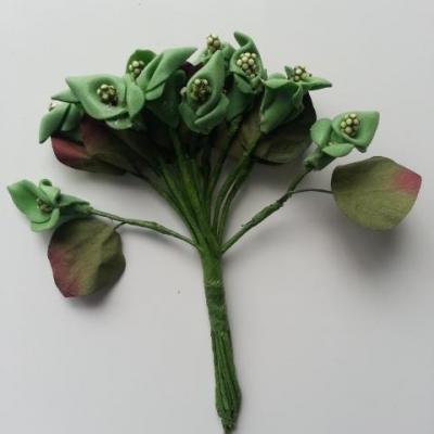 lot de 12 minis fleurs artificielles arum en mousse sur tige avec feuille vert et bordeaux