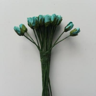 lot de 24 minis fleurs artificielles  sur tige bleu turquoise 10mm