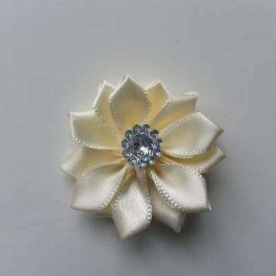 Applique fleur satin strass  35mm ivoire