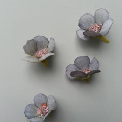 lot de 4 fleurs artificielles en tissu 20mm bleu gris