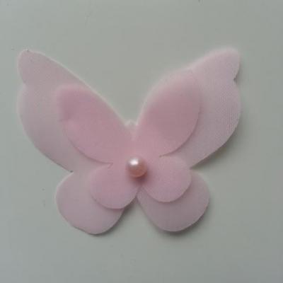 Applique double papillon  voile  et perle   50*60mm rose