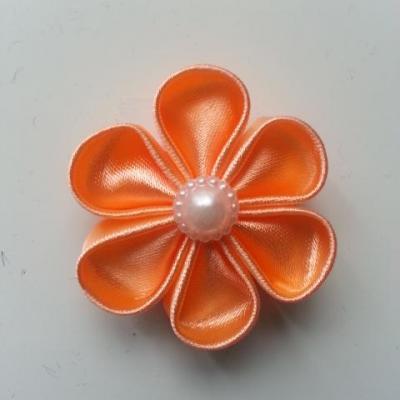 fleur en tissu 4cm pêche  pétales ronds