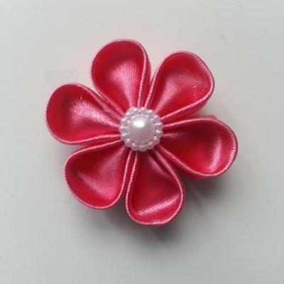 fleur en tissu 4cm rose framboise  pétales ronds