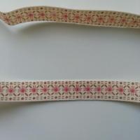 1 metre  de ruban ivoire motif floral rose et beige 10mm