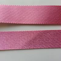 un mètre de ruban polyester rose satiné et  irisé  25mm