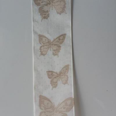 un mètre de ruban organza aux papillons marron et ivoire  40mm