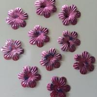 lot de 10  fleurs 35mm rose  à reflets en plastique