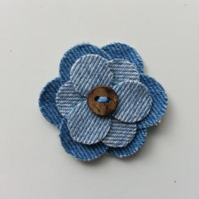 fleur de 45mm en jean bleu myen et bleu clair