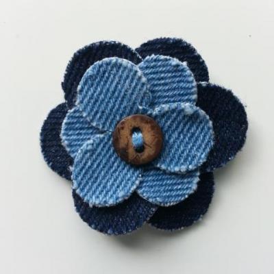 fleur de 45mm en jean bleu foncé et bleu moyen