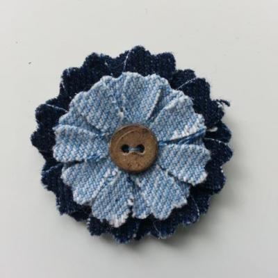 fleur de 45mm en jean bleu foncé et bleu clair