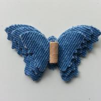 triple papillon en jean bleu moyen 60*40mm