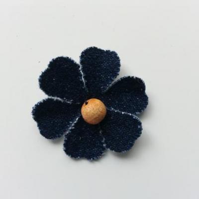 fleur de 35mm en jean bleu foncé