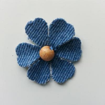 fleur de 35mm en jean bleu moyen