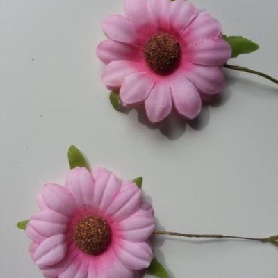 lot de 2 fleurs marguerite artificielles sur tige 50mm rose