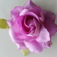 rose artificielle en tissu pailleté mauve   80mm