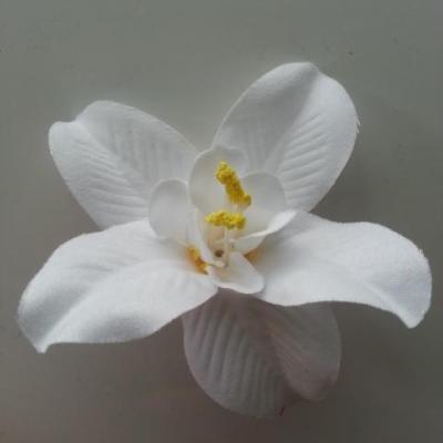 Orchidée  en tissu   70mm blanc