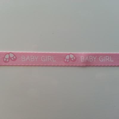 1 metre  de ruban gros grain rose et blanc  motif baby girl pied  10mm