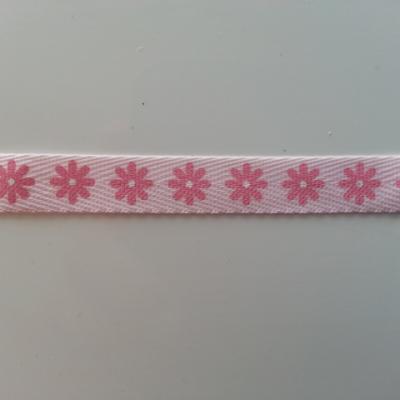 1 metre  de ruban gros grain rose motif fleur  10mm