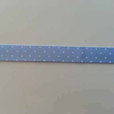 1 metre  de ruban gros grain bleu motif petits pois  10mm