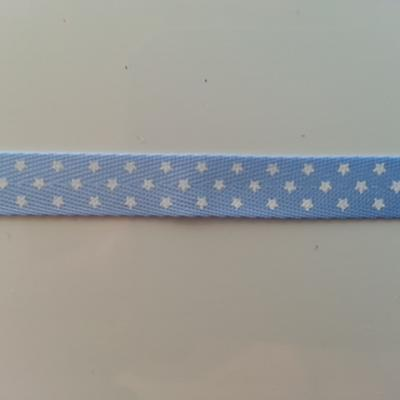1 metre  de ruban gros grain bleu motif  pois  10mm