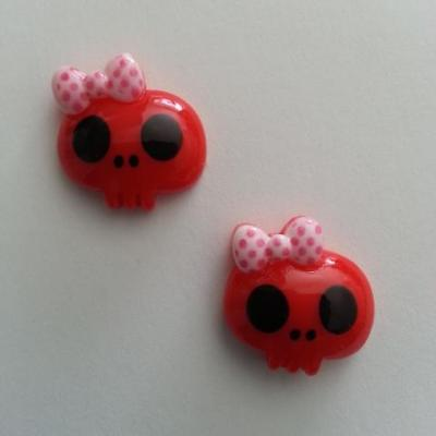 Lot de 2 demi tête squelette halloween 18*18mm rouge