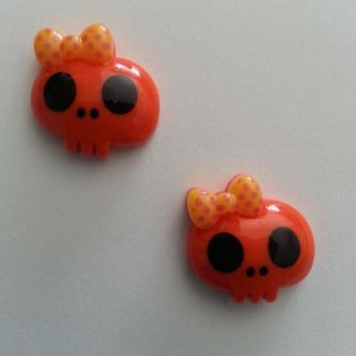 Lot de 2 demi tête squelette halloween 18*18mm orange