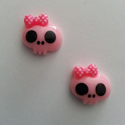 Lot de 2 demi tête squelette halloween 18*18mm rose