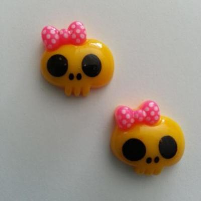 Lot de 2 demi tête squelette halloween 18*18mm jaune