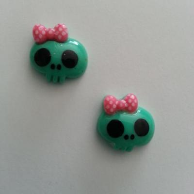 Lot de 2 demi tête squelette halloween 18*18mm vert