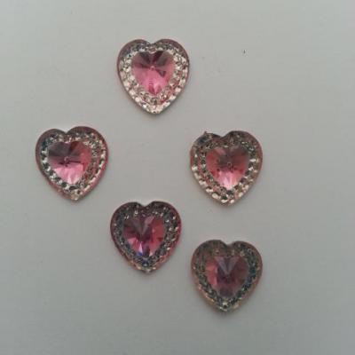 Lot de 5 strass plat coeur rose et argent  12mm