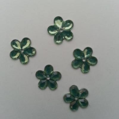 lot de 5 strass fleur 10mm vert
