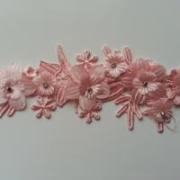 applique  en dentelle et fleur peche  20*7cm