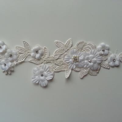 applique  en dentelle et fleur blanche  26.5*10cm