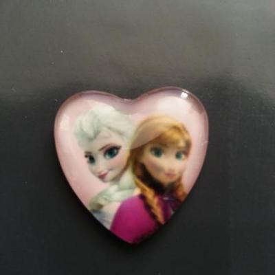 anna et elsa , reine des neiges cabochon coeur en verre avec impression   25 mm